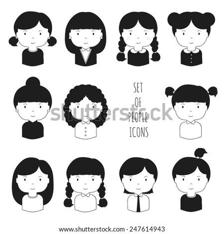 Set of monochrome female faces icons. Funny cartoon hand drawn faces sketch pictogram for your design. Collection of woman avatar. Businesswoman. Trendy doodle style. Vector illustration. - stock vector
