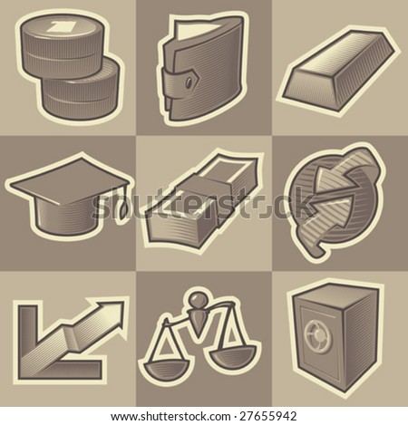 Set of monochrome finance retro icons. Hatched in style of engraving. Vector illustration. - stock vector