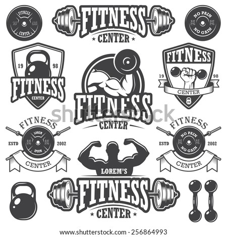 Set of monochrome fitness emblems, labels, badges, logos and designed elements. - stock vector