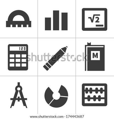 set of monochrome flat maths icons. isolated on white - stock vector