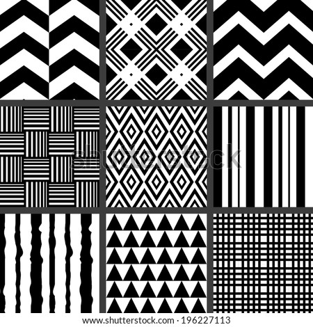 Set of monochrome geometric patterns - stock vector