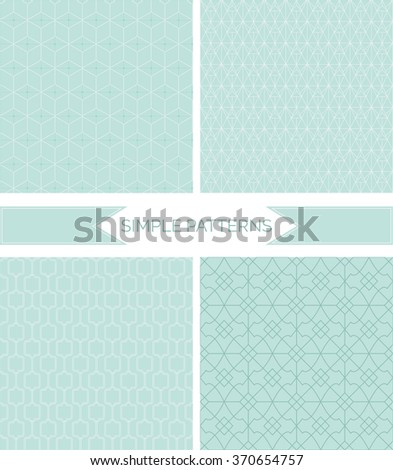 Set of monochrome geometric patterns. Seamless textures. Vector seamless patterns set in trendy mono line style. - stock vector