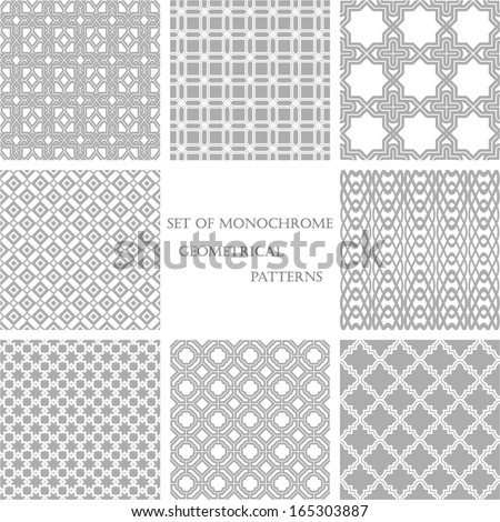 Set of 8 monochrome geometrical patterns. White, gray grille texture in Arabic, Oriental style. A seamless vector background. - stock vector