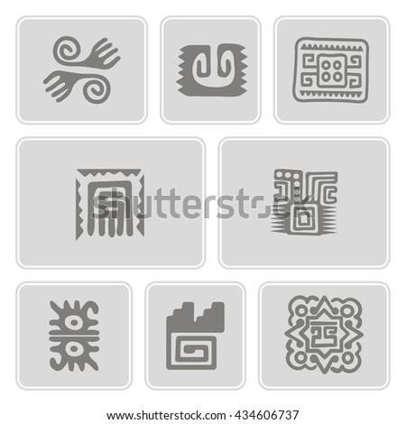 Set of monochrome icons with American Indians art and ethnic ornaments - stock vector