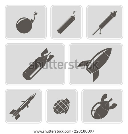 set of monochrome icons with bombs for your design - stock vector