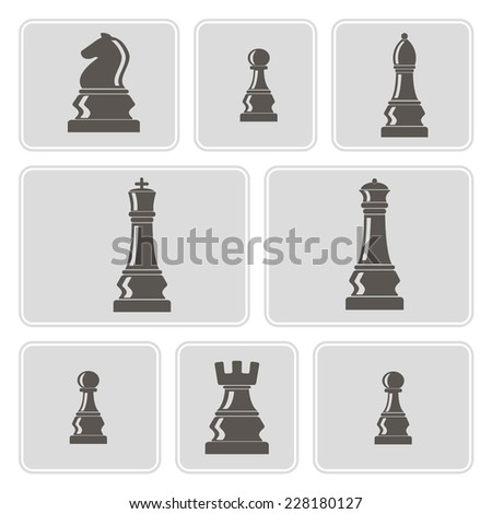 set of monochrome icons with chess pieces for your design - stock vector