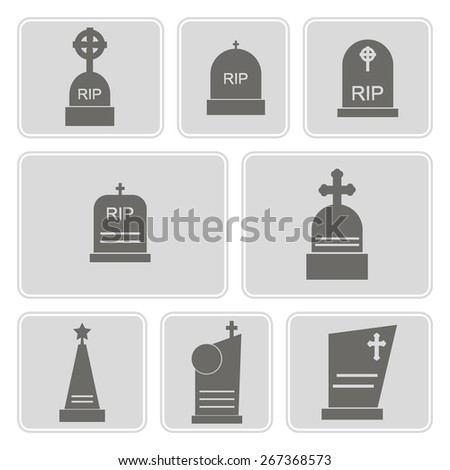 set of monochrome icons with grave for your design - stock vector