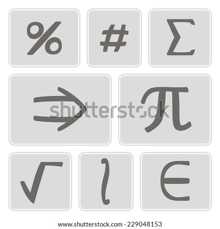 set of monochrome icons with mathematical symbols for your design - stock vector
