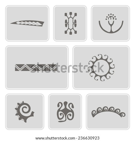 set of monochrome icons with Polynesian tattoo symbols for your design - stock vector