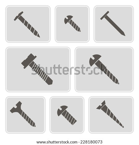 set of monochrome icons with screws for your design - stock vector