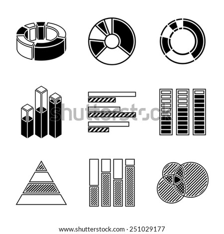 Set of monochrome infographic elements - pie charts, graphics, rates, diagrams etc. Vector - stock vector