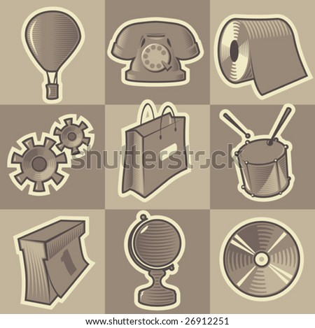 Set of monochrome miscellaneous retro icons. Hatched in style of engraving. Vector illustration. - stock vector
