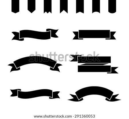 Set of monochrome ribbons and banners. Collection of simple frames. Vector illustration. - stock vector