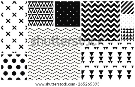 Set of monochrome seamless patterns. Vector backgrounds collection. - stock vector