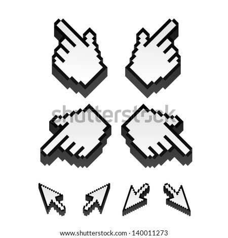 set of monochrome vector pixel cursors - stock vector