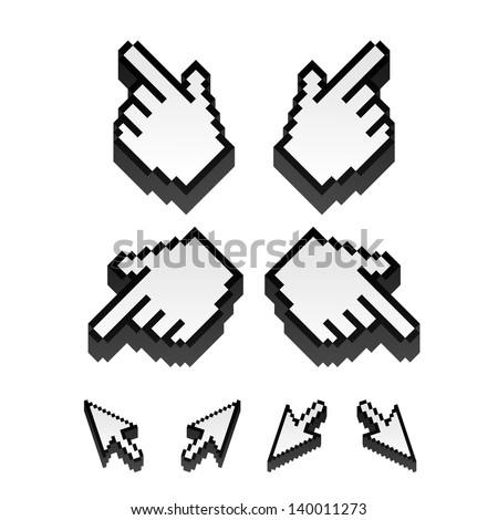 set of monochrome vector pixel cursors - stock vector