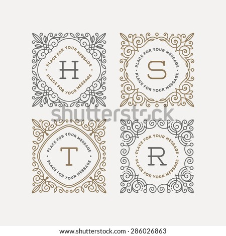 Set of monogram logo template with flourishes calligraphic elegant ornament frames. Identity design with letter for cafe, shop, store, restaurant, boutique, hotel, heraldic, fashion and etc. - stock vector