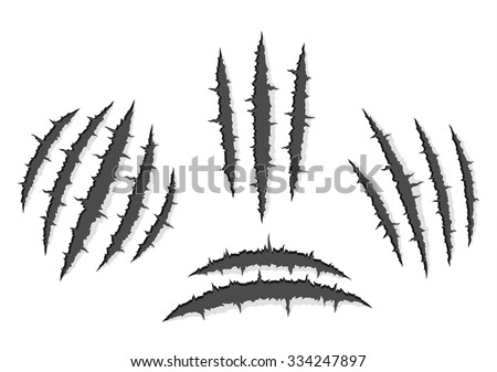 Set of monster claws, hand scratches or rip through white background with shadow and light - stock vector