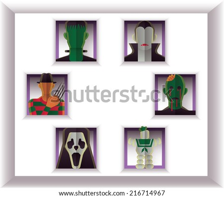 Set of 6 Monsters in Flat Style - stock vector