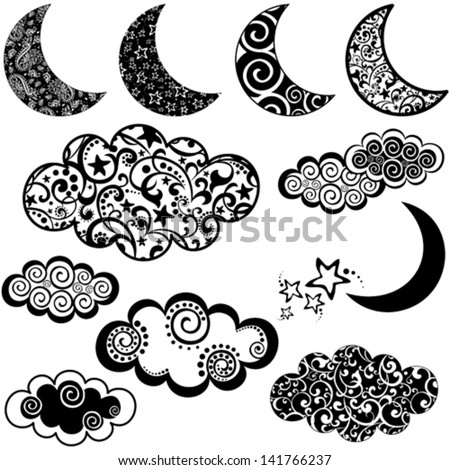 Set of moon and cloud icons isolated on white background. Vector illustration - stock vector