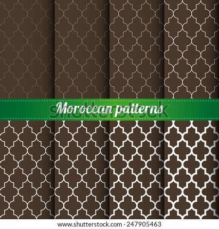 Set of 8 Moroccan patterns with various density vector - stock vector