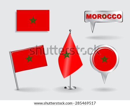 Set of Moroccan pin, icon and map pointer flags. Vector illustration. - stock vector