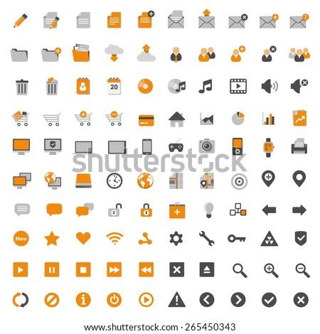 Set of most popular multimedia flat design icons - documents & office, business, online shopping, navigation, music, social network etc. - stock vector