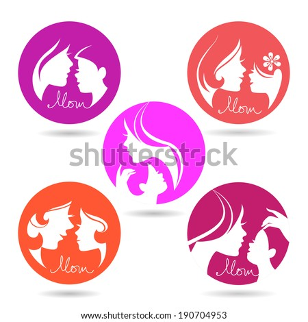 Set of mother and baby silhouette symbols. Happy Mother's Day icons - stock vector