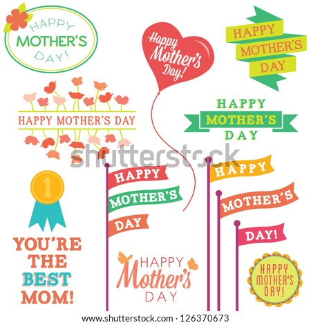 Set of Mother's Day Vector Design Elements - stock vector
