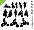 Set of Motorcross silhouettes vector - stock vector