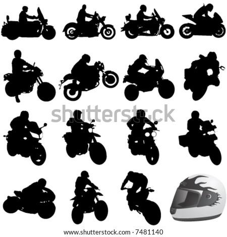 set of motorcycle vector - stock vector