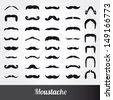 Set of moustache vector - stock vector