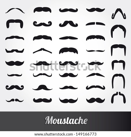 Set of moustache vector - stock vector