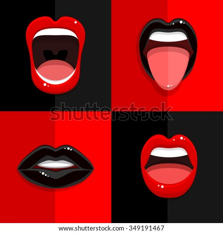 Set of mouth with open black and red lips on red and black backgrounds. Vector Illustration. - stock vector