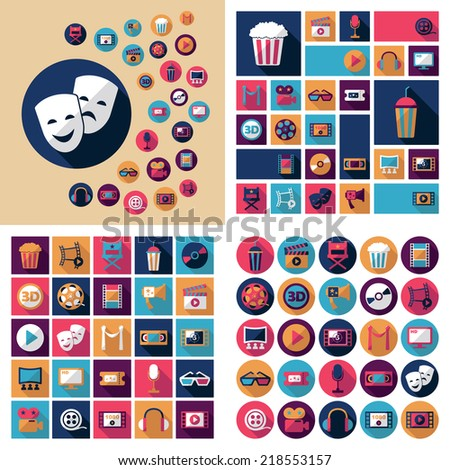 Set of movie design elements and cinema icons - stock vector