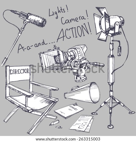 Set of movie make hand drawn objects - stock vector