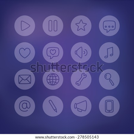 Set of multi-purpose thin line interface icons for web or apps on a blurred frosted glass background. Clean and minimalistic, but with a personal hand drawn feel. - stock vector