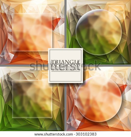 Set of Multicolor Design Templates. Geometric Triangular Abstract Modern Vector Background.  - stock vector