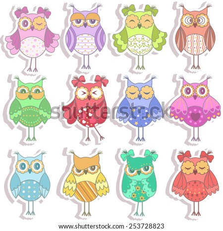 Set of multicolored, beautiful owls  - stock vector