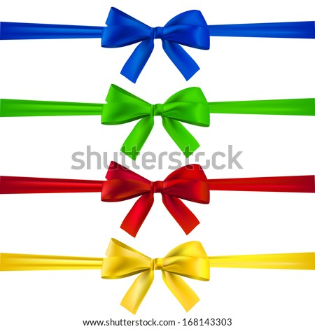 Set of multicolored bows with ribbons.  - stock vector