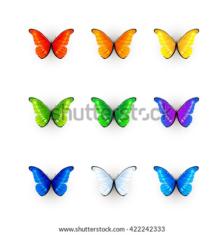 Set of multicolored butterflies isolated on white background, illustration. - stock vector