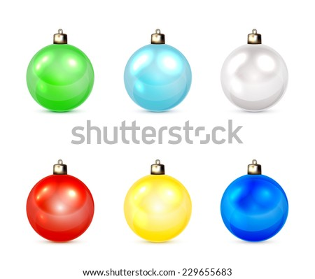 Set of multicolored Christmas balls isolated on white background, illustration. - stock vector