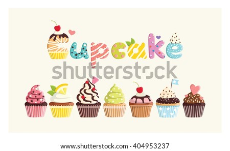 Set of multicolored cute cupcakes. For postcards, stickers, prints, posters, decorations, labels, cloth. - stock vector
