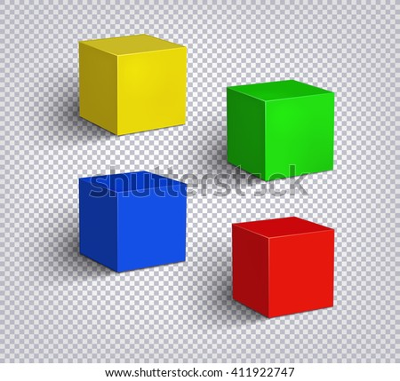 Set of multicolored empty cubes on a checkered background. 3D illustration. Isolated objects with soft shadow  - stock vector