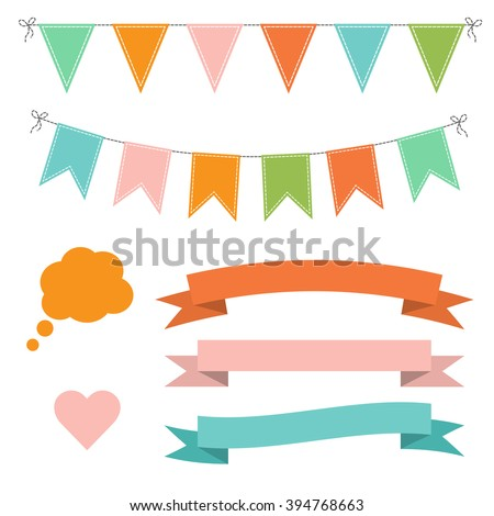 Set of multicolored flat buntings garlands, flags, ribbons, heart and speech bubble. Celebration decor - stock vector