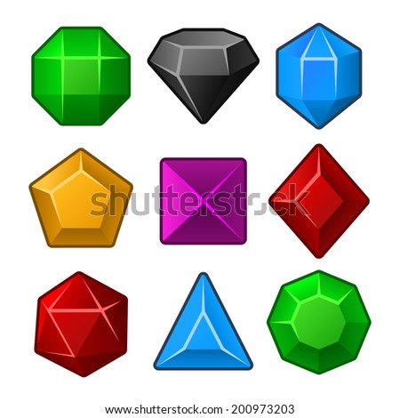 Set of Multicolored Gems for Match3 Games. Vector illustration - stock vector