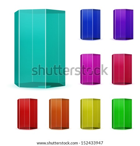 Set of multicolored glass prisms - stock vector