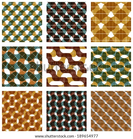 Set of multicolored grate seamless patterns with parallel ribbons and geometric figures, transparent symmetric bright wavy tiles, infinite geometric surface textures with diamonds and squares? - stock vector