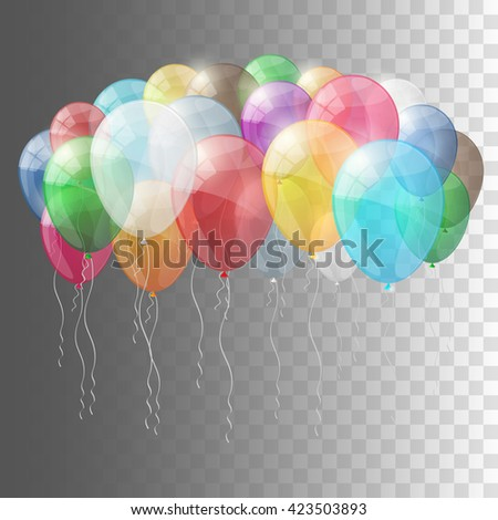 Set of multicolored shiny glossy balloons. Transparent version of balloons. Vector illustration. - stock vector