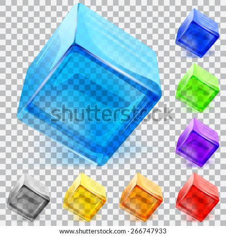 Set of multicolored transparent glass cubes - stock vector